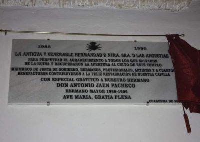 Placa agradecimiento Junta de Gobierno de D. Antonio Jaén Pacheco 2019